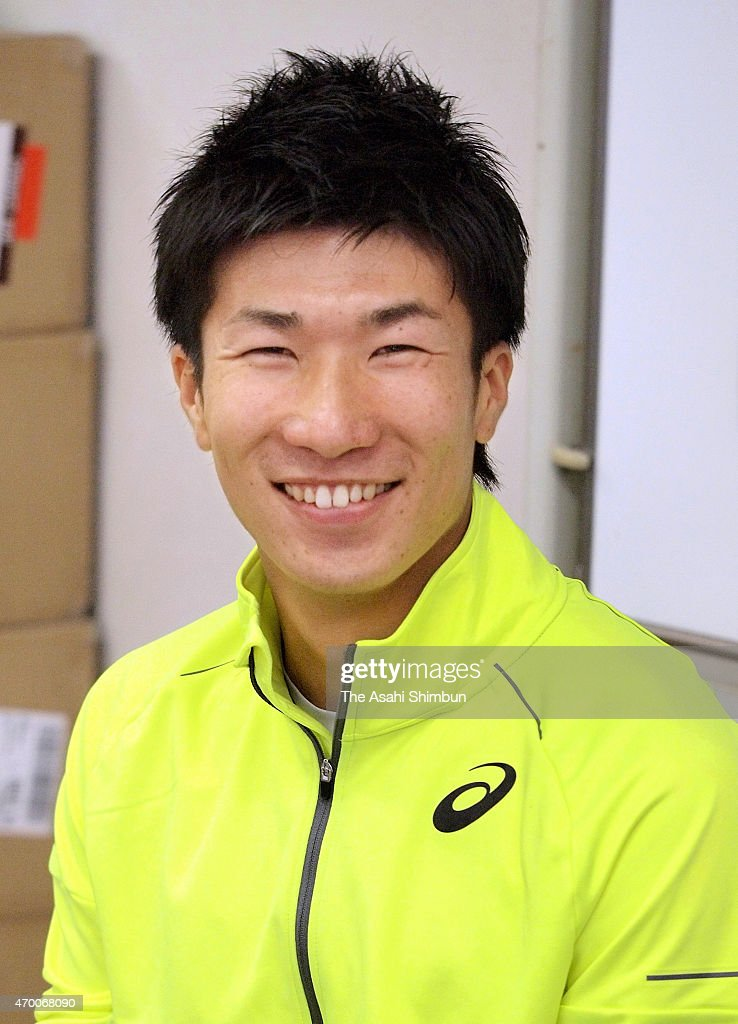 <a gi-track='captionPersonalityLinkClicked' href=/galleries/search?phrase=Yoshihide+Kiryu&family=editorial&specificpeople=10879804 ng-click='$event.stopPropagation()'>Yoshihide Kiryu</a> smiles during a press conference ahead of the Oda Mikio Memorial Athletics championships on April 17, 2015 in Hiroshima, Japan.