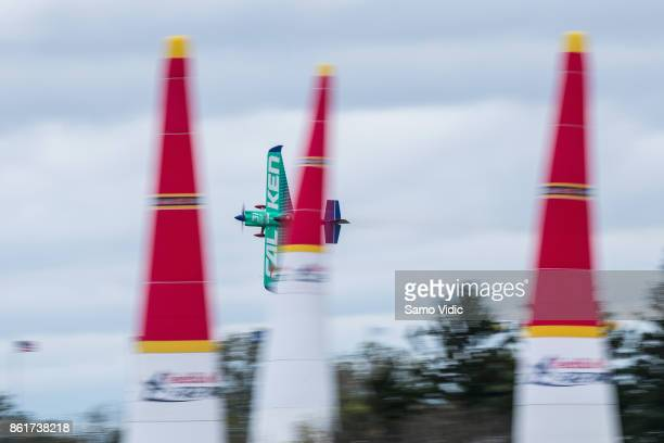 Yoshihide Muroya of Japan competes during the final stage at Red Bull Air Race World Championship at Indianapolis Motor Speedway on October 15 2017...