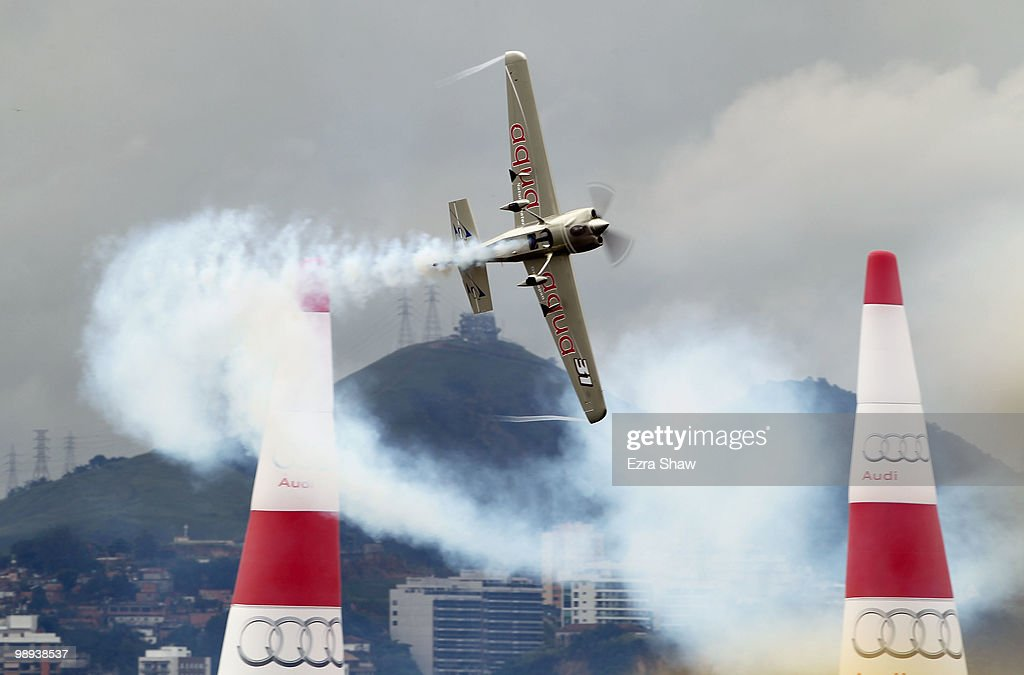 Yoshihide Muroya of Japan in action during the Red Bull Air Race Day on May 9, 2010 in Rio de Janeiro, Brazil.