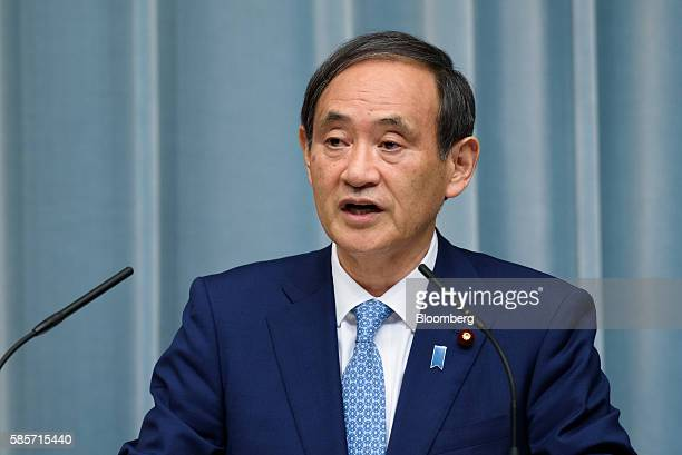 Yoshihide Suga chief cabinet secretary of Japan speaks during a press conference at the official residence of Japan's Prime Minister Shinzo Abe not...