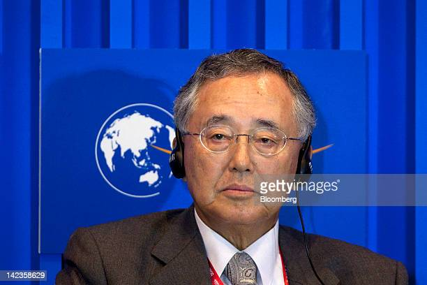 Yoshihiko Miyauchi chairman and chief executive officer of Orix Corp attends a session at the Boao Forum for Asia in Boao Hainan Province China on...