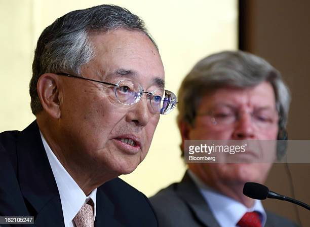 Yoshihiko Miyauchi chairman and chief executive officer of Orix Corp left speaks as Piet Moerland chairman of Rabobank Groep looks on during a news...