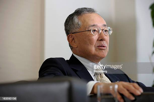 Yoshihiko Miyauchi chairman and chief executive officer of Orix Corp speaks during an interview in Tokyo Japan on Monday March 11 2013 Orix said...