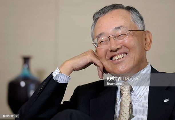 Yoshihiko Miyauchi chairman and chief executive officer of Orix Corp reacts during an interview in Tokyo Japan on Monday March 11 2013 Orix said...