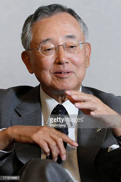 Yoshihiko Miyauchi chairman and chief executive officer of Orix Corp gestures as he speaks during an interview at the company's headquarters in Tokyo...