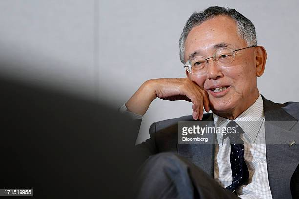 Yoshihiko Miyauchi chairman and chief executive officer of Orix Corp speaks during an interview at the company's headquarters in Tokyo Japan on...