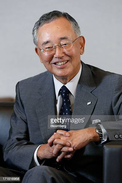 Yoshihiko Miyauchi chairman and chief executive officer of Orix Corp poses for a photograph at the company's headquarters in Tokyo Japan on Monday...