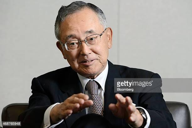 Yoshihiko Miyauchi senior chairman of Orix Corp gestures as he speaks during an interview in Tokyo Japan on Thursday March 19 2015 Miyauchi who ran...