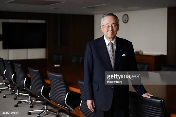 Yoshihiko Miyauchi senior chairman of Orix Corp poses for a photograph in Tokyo Japan on Thursday March 19 2015 Miyauchi who ran Orix Corp for more...