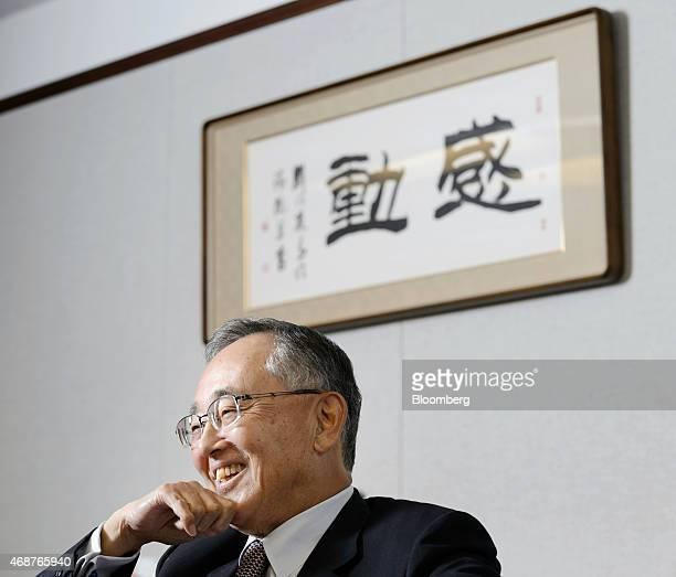 Yoshihiko Miyauchi senior chairman of Orix Corp reacts during an interview in Tokyo Japan on Thursday March 19 2015 Miyauchi who ran Orix Corp for...