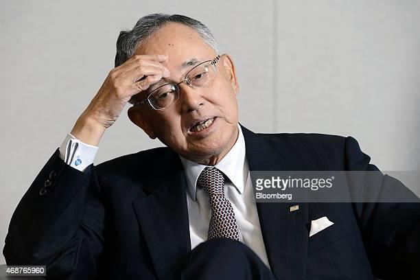 Yoshihiko Miyauchi senior chairman of Orix Corp speaks during an interview in Tokyo Japan on Thursday March 19 2015 Miyauchi who ran Orix Corp for...