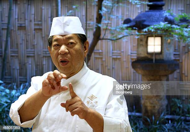 Yoshihiro Murata master chef for Kikunoi Japanese restaurant and chairman of the Japanese Culinary Academy speaks in the restaurant during a media...