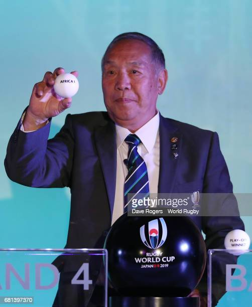 Yoshihiro Sakata former Japan wing draws Africa 1 during the Rugby World Cup 2019 Pool Draw at the Kyoto State Guest House on May 10 2017 in Kyoto...