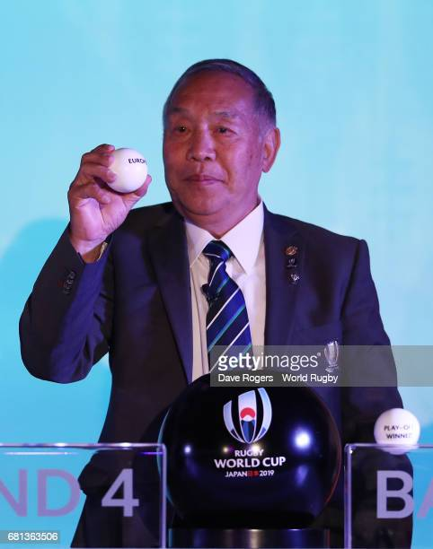 Yoshihiro Sakata former Japan wing draws Europe 1 during the Rugby World Cup 2019 Pool Draw at the Kyoto State Guest House on May 10 2017 in Kyoto...