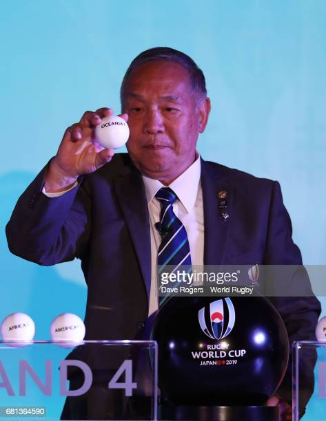 Yoshihiro Sakata former Japan wing draws Oceania 1 during the Rugby World Cup 2019 Pool Draw at the Kyoto State Guest House on May 10 2017 in Kyoto...