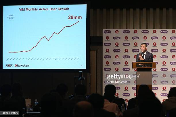 Yoshihisa Yamada chief financial officer of Rakuten Inc speaks during a press conference announcing the earning results for Q4 of fiscal year 2013 on...