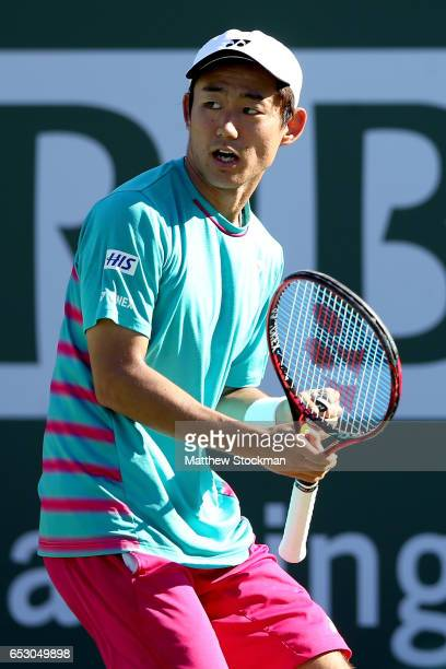 Yoshihito Nishioka of Japan celebrates a point against Tomas Berdych of Czech Republic during the BNP Paribas Open at the Indian Wells Tennis Garden...