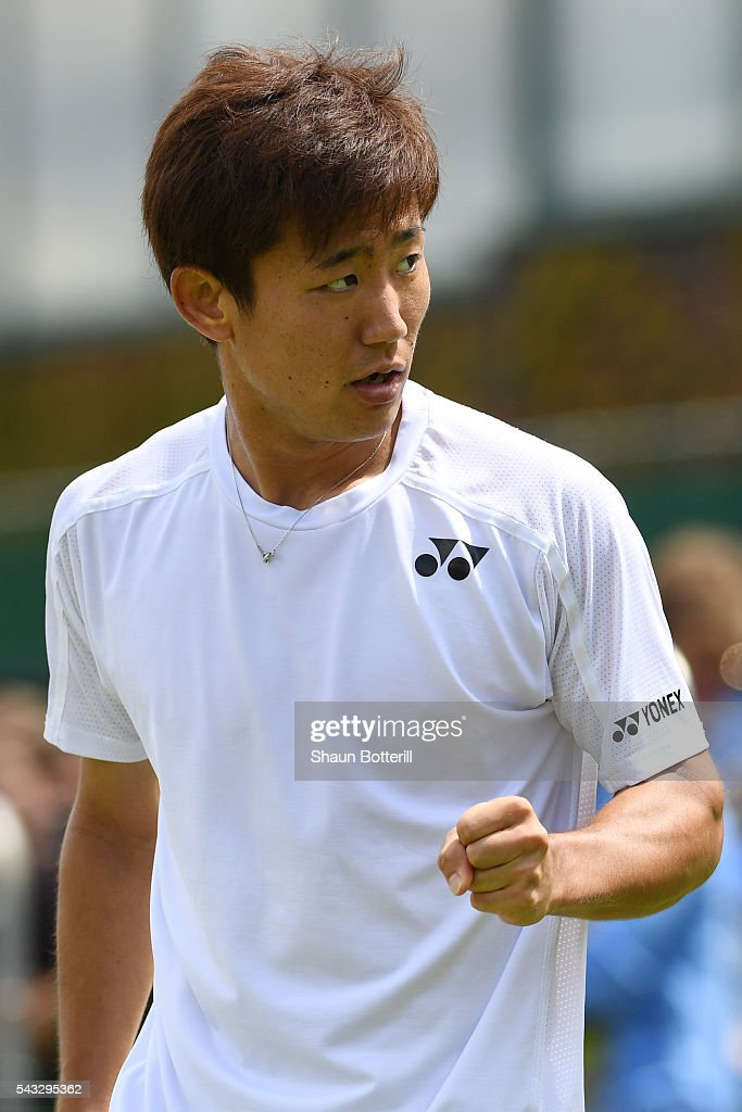 <a gi-track='captionPersonalityLinkClicked' href=/galleries/search?phrase=Yoshihito+Nishioka&family=editorial&specificpeople=9451757 ng-click='$event.stopPropagation()'>Yoshihito Nishioka</a> of Japan celebrates during the Men's Singles first round match against Sergiy Stakhovsky od Ukraine on day one of the Wimbledon Lawn Tennis Championships at the All England Lawn Tennis and Croquet Club on June 27th, 2016 in London, England.
