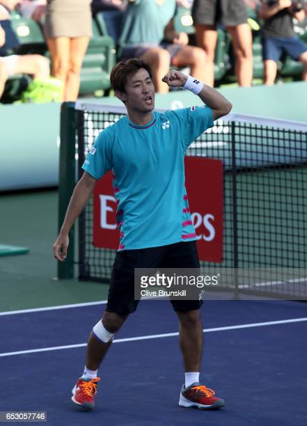 Yoshihito Nishioka of Japan celebrates to the crowd after his three set victory in his third round match against Tomas Berdych of the Czech Republic...