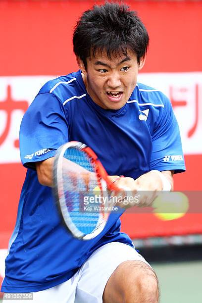 Yoshihito Nishioka of Japan in action during the men's singles first round match against Tatsuma Ito of Japan on day one of Rakuten Open 2015 at...