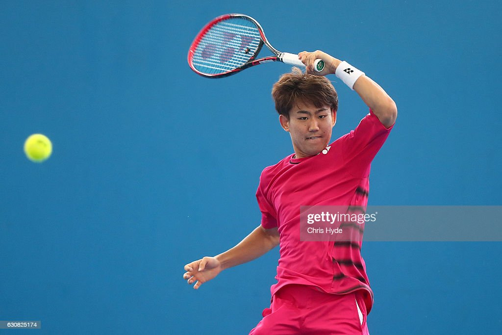 Yoshihito Nishioka of Japan plays a forehand during his match against Viktor Troicki of Serbia on day three of the 2017 Brisbane International at Pat Rafter Arena on January 3, 2017 in Brisbane, Australia.