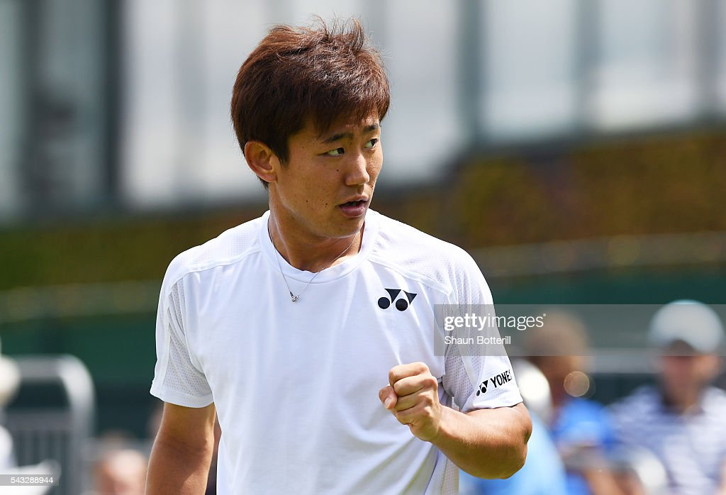 <a gi-track='captionPersonalityLinkClicked' href=/galleries/search?phrase=Yoshihito+Nishioka&family=editorial&specificpeople=9451757 ng-click='$event.stopPropagation()'>Yoshihito Nishioka</a> of Japan reacts after winning a point during the Men's Singles first round match against Sergiy Stakhovsky od Ukraine on day one of the Wimbledon Lawn Tennis Championships at the All England Lawn Tennis and Croquet Club on June 27th, 2016 in London, England.