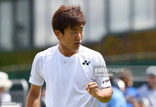 Yoshihito Nishioka of Japan reacts after winning a point during the Men's Singles first round match against Sergiy Stakhovsky od Ukraine on day one...
