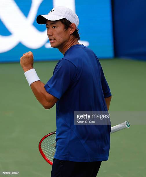 Yoshihito Nishioka of Japan reacts after winning the first set against Alexandr Dolgopolov of Ukraine during the BBT Atlanta Open at Atlantic Station...