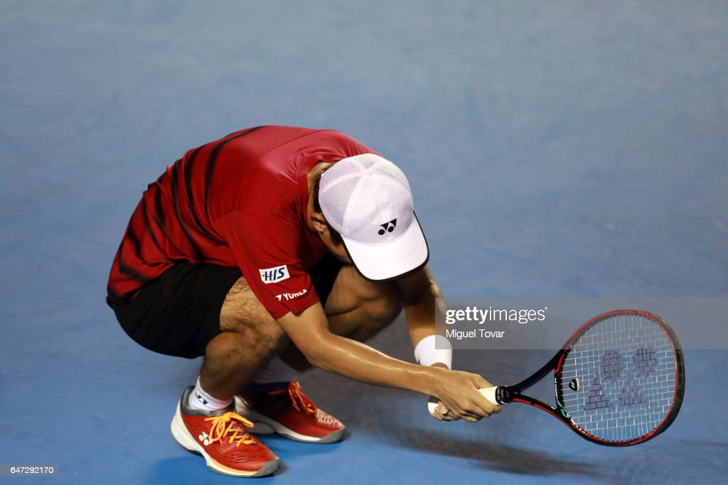 Yoshihito Nishioka of Japan reacts during the match between Yoshihito Nishioka (JPN) and Rafael Nadal (SPA) as part of the Abierto Mexicano Telcel 2017 at the Fairmont Acapulco Princess on March 02, 2017 in Acapulco, Mexico.
