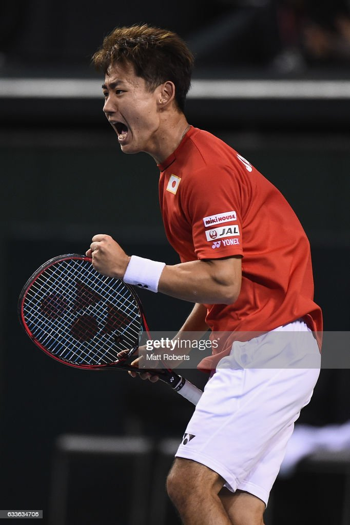 Yoshihito Nishioka of Japan reacts in his match against Gilles Simon of France during the Davis Cup by BNP Paribas first round singles match between Japan and France at Ariake Colosseum on February 3, 2017 in Tokyo, Japan.