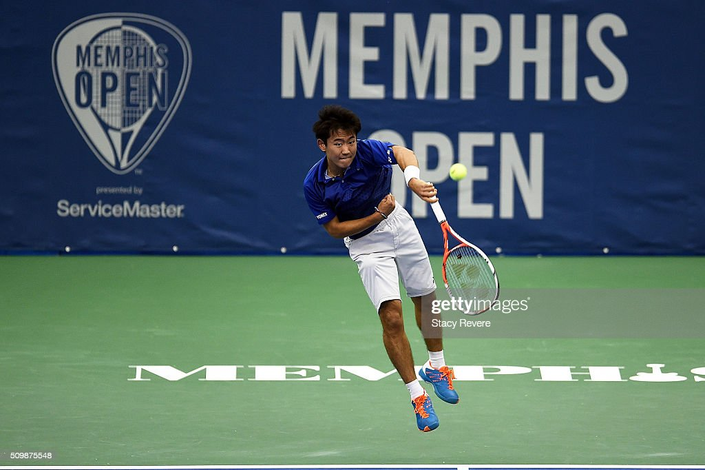 Yoshihito Nishioka of Japan serves to Sam Querrey of the United States during their quarterfinal singles match on Day 5 of the Memphis Open at the Racquet Club of Memphis on February 12, 2016 in Memphis, Tennessee.