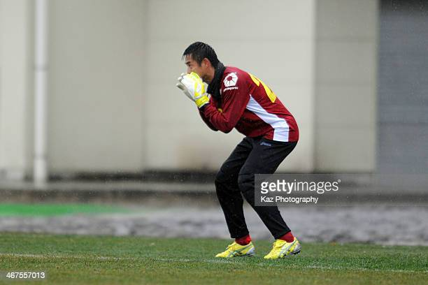 Yoshikatsu Kawaguchi of FC Gifu in action during the preseason friendly match between FC Gifu and Fukuoka University at Beppu Jissoji Football Field...
