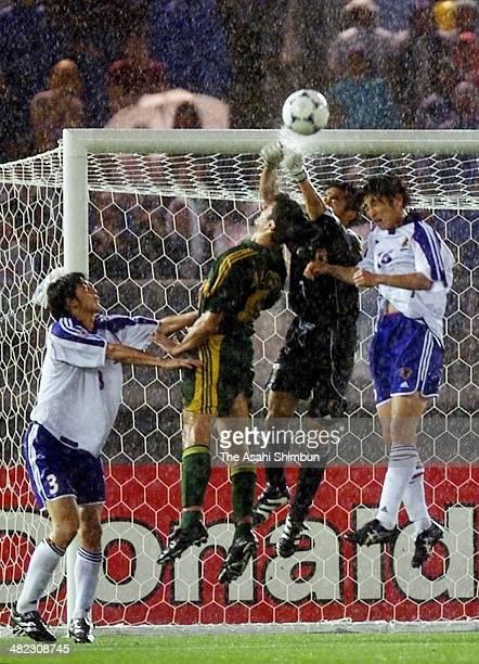 Yoshikatsu Kawaguchi of Japan makes a save during the 2001 FIFA Confederations Cup semi final match beween Japan and Australia at the International...
