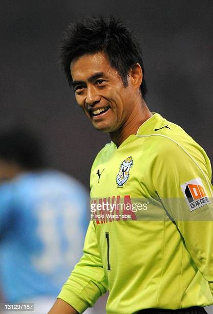 Yoshikatsu Kawaguchi of Jubilo Iwata celebrates the win after the JLeague match between Urawa Red Diamonds and Jubilo Iwata at Saitama Stadium on...