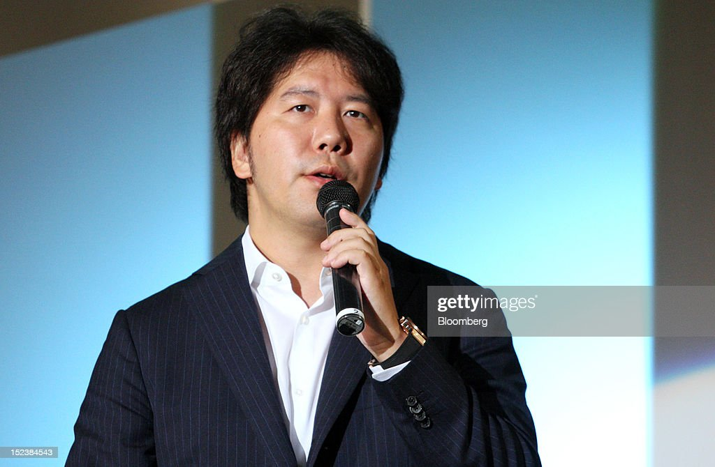 <a gi-track='captionPersonalityLinkClicked' href=/galleries/search?phrase=Yoshikazu+Tanaka&family=editorial&specificpeople=4428775 ng-click='$event.stopPropagation()'>Yoshikazu Tanaka</a>, president and chief executive officer of Gree Inc., delivers a keynote speech at the Tokyo Game Show 2012 at Makuhari Messe in Chiba, Japan, on Thursday, Sept. 20, 2012. The show will be held through Sept. 23. Photographer: Tomohiro Ohsumi/Bloomberg via Getty Images