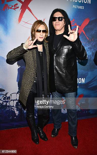 Yoshiki and Gene Simmons attend the Premiere of Drafthouse Films' 'We Are X' at TCL Chinese Theatre on October 3 2016 in Hollywood California