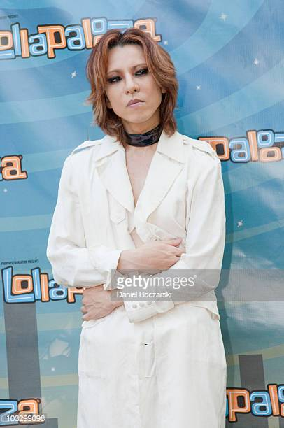 Yoshiki of X Japan poses during day three of Lollapalooza at Grant Park on August 8 2010 in Chicago United States