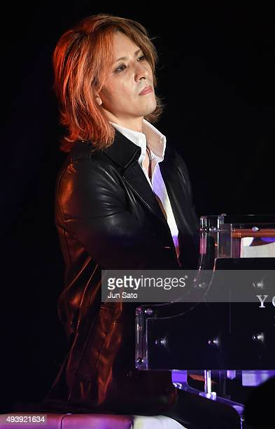 Yoshiki of XJapan performs during the Miss International x YOSHIKI Charity Gala 2015 at the Happoen on October 23 2015 in Tokyo Japan