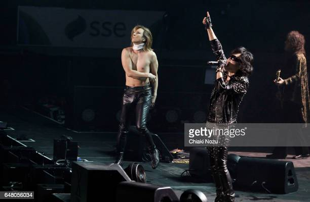 Yoshiki Toshi and Pata of X Japan perform at Wembley Arena on March 4 2017 in London United Kingdom