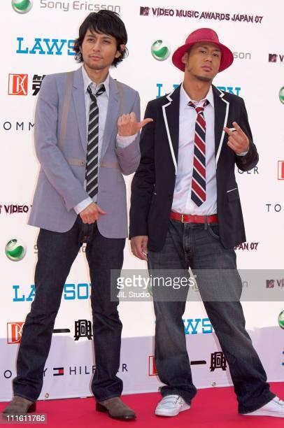 Yoshikuni Dochin and Kaname Kawabata of Chemistry during MTV Video Music Awards Japan 2007 Red Carpet at Saitama Super Arena in Saitama Japan