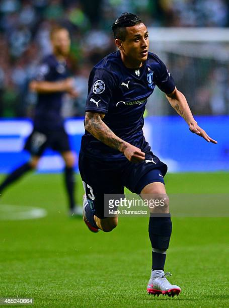 Yoshimar Yotun of Malmo in action during the UEFA Champions League Qualifying play off first leg match between Celtic FC and Malmo FF at Celtic Park...