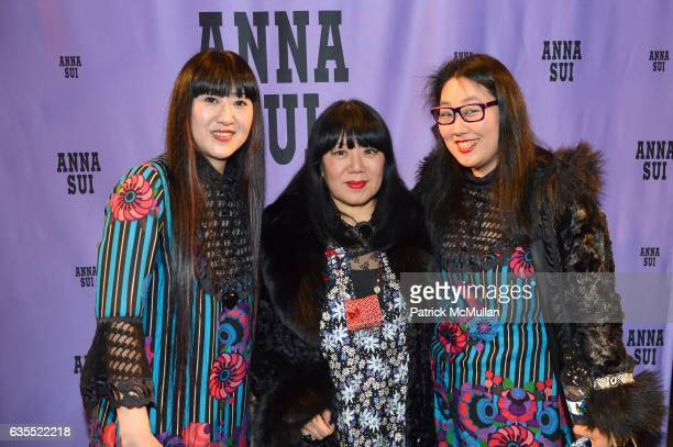 Yoshimi Lee Anna Sui and Jean Lee pose backstage at Anna Sui Fall/Winter 2017 Show during New York Fashion Week The Shows on February 15 2017 in New...