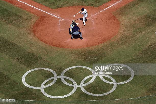 Yoshinobu Takahashi of Japan bats against Australia during the baseball preliminary game on August 18 2004 during the Athens 2004 Summer Olympic...