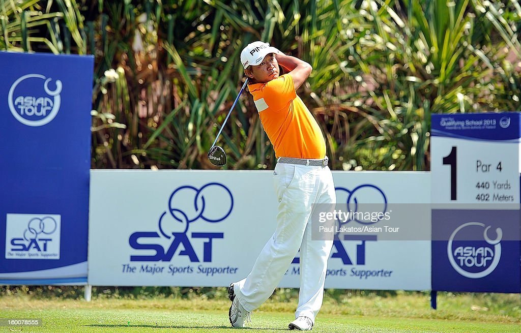 Yoshinobu Tsukada of Japan plays a shot during round four of the Asian Tour Qualifying School Final Stage at Springfield Royal Country Club on January 26, 2013 in Hua Hin, Thailand.