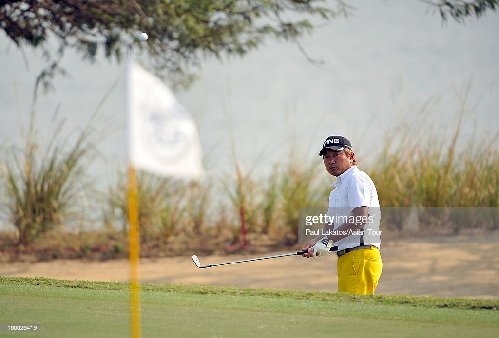 Yoshinobu Tsukada of Japan plays a shot during round three of the Asian Tour Qualifying School Final Stage at Springfield Royal Country Club on January 25, 2013 in Hua Hin, Thailand.