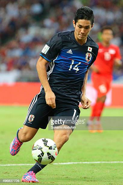 Yoshinori Muto of Japan in action during the 2018 FIFA World Cup Qualifier match between Singapore and Japan at National Stadium on November 12 2015...