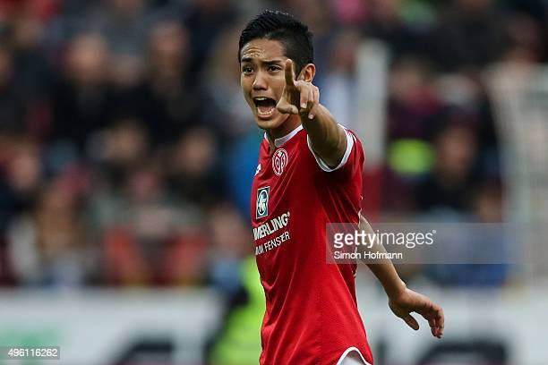 Yoshinori Muto of Mainz gestures during the Bundesliga match between 1 FSV Mainz 05 and VfL Wolfsburg at Coface Arena on November 7 2015 in Mainz...