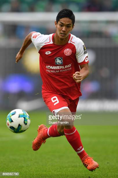 Yoshinori Muto of Mainz in action during the Bundesliga match between VfL Wolfsburg and 1 FSV Mainz 05 at Volkswagen Arena on September 30 2017 in...