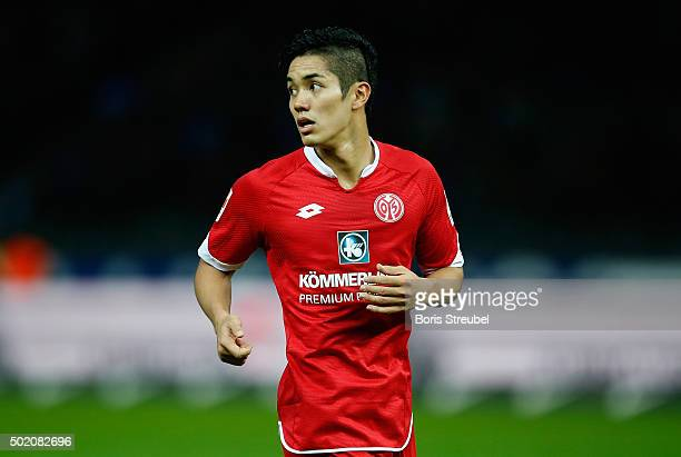 Yoshinori Muto of Mainz looks on during the Bundesliga match between Hertha BSC and 1 FSV Mainz 05 at Olympiastadion on December 20 2015 in Berlin...