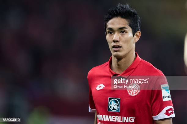 Yoshinori Muto of Mainz looks on during the Bundesliga match between 1 FSV Mainz 05 and RB Leipzig at Opel Arena on April 5 2017 in Mainz Germany